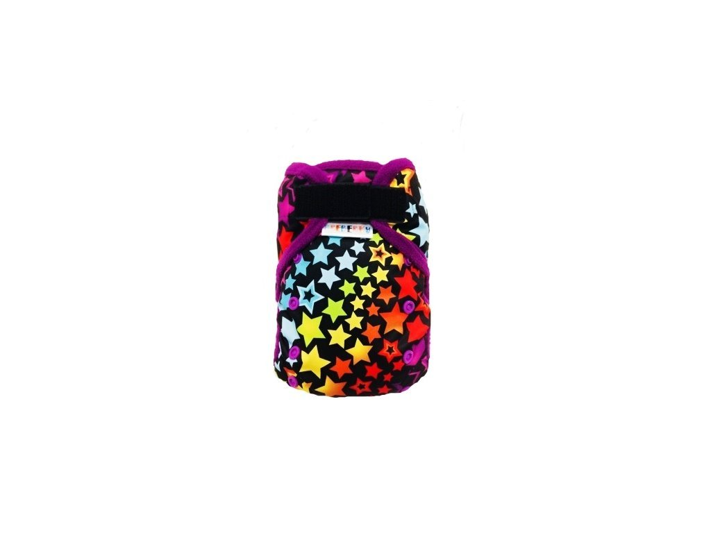 Svrchní kalhotky bez křidélek - Hvězdná duha SZ, fialové patentky + fialové lemování