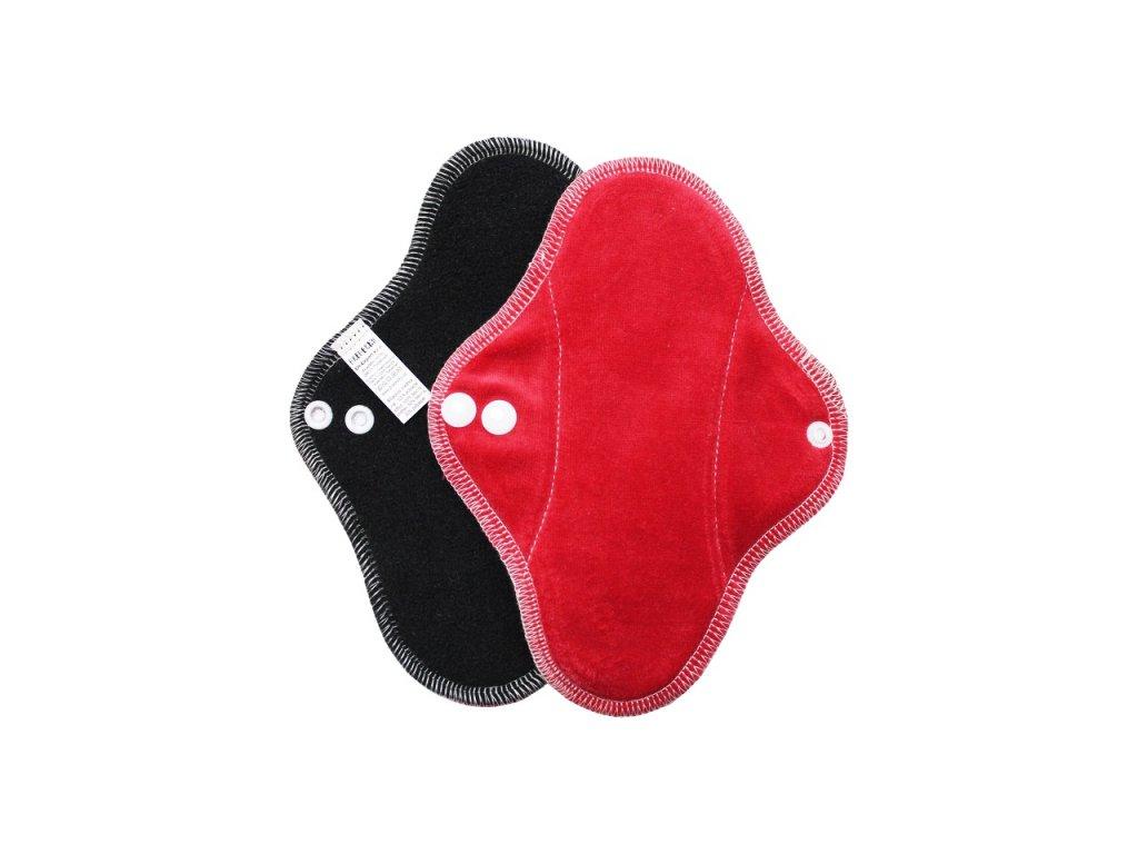 Slipovka fleece Černá, červený velur