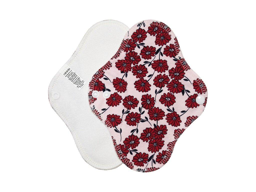 Slipovka froté s PU bílá, Červené kytičky