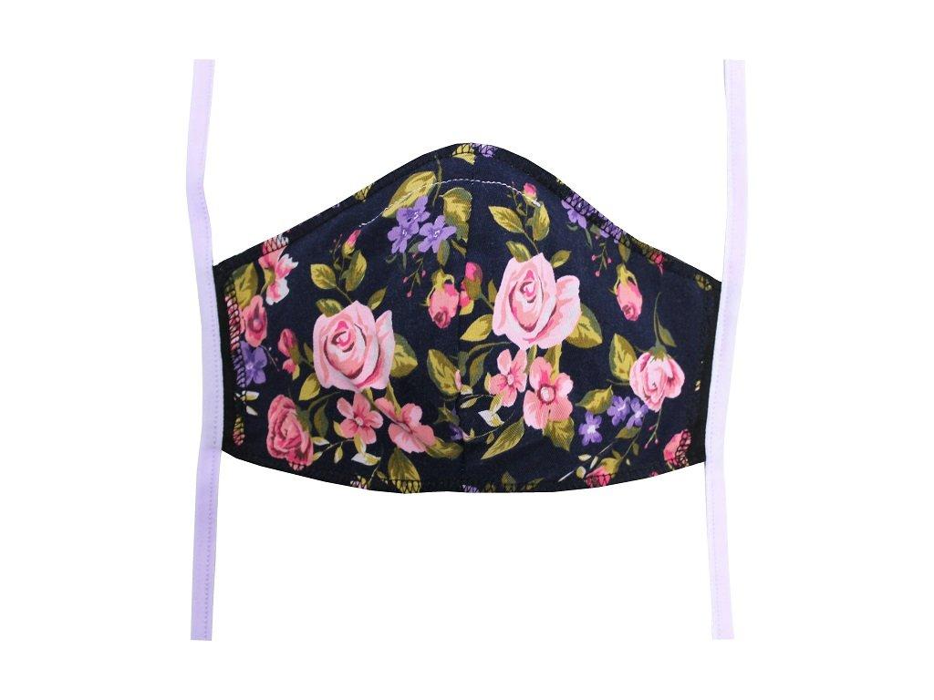 Rouška pro dospělé Černá, Květy (světle fialová gumička)