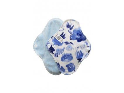 Slipovka bavlna Modré květy, sv.modrý velur
