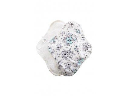 Slipovka froté pul Bílá, Šedé květy1