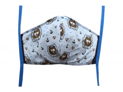 Rouška pro dospělé Tmavě modrá, Lev námořník (modré gumičky)