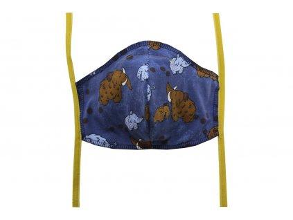 Rouška pro dospělé Tmavě modrá, Mamuti (zlatá gumička)