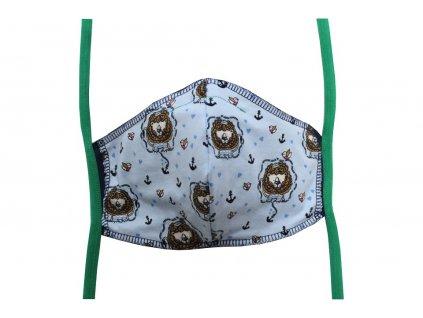 Rouška pro dospělé Tmavě modrá, Lev námořník (zelené gumičky)