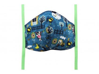 Rouška pro děti (7-12 let) Tmavě modrá, Farma (zelené gumičky)