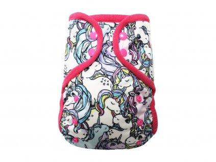 Svrchní kalhotky XL bez křidélek - Šťastný jednorožec PAT, růžové patentky + růžové lemování