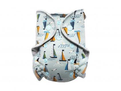 Kalhotková plenka MINI - Racek a plachetnice na šedé PAT, sv.modré patentky
