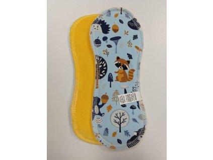 Denní vložka bez křidélek, BOOSTER (Bavlněný úplet) -  Lesní zvířátka, žlutý velur (kojenecký plyš)