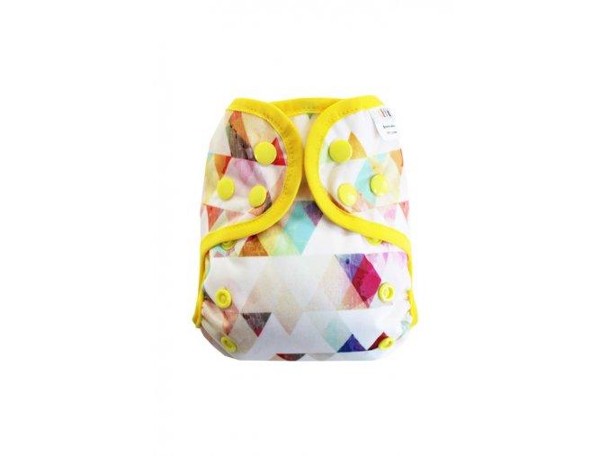 Trojúhelníčky duhové S pat, žlutá gumička1