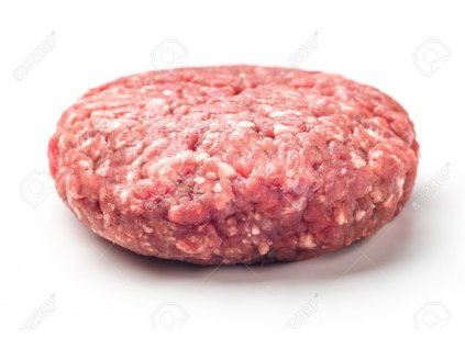97217402 raw red meat burger for hamburgers of minced ground beef or pork ready for cooking isolated on white