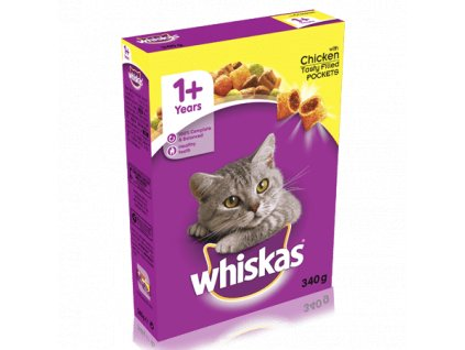 large whiskas 1 years complete dry cat food with chicken 340g 340g