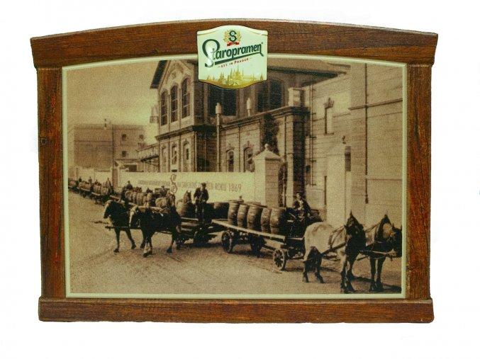 Wooden wall sign Staropramen Brewery