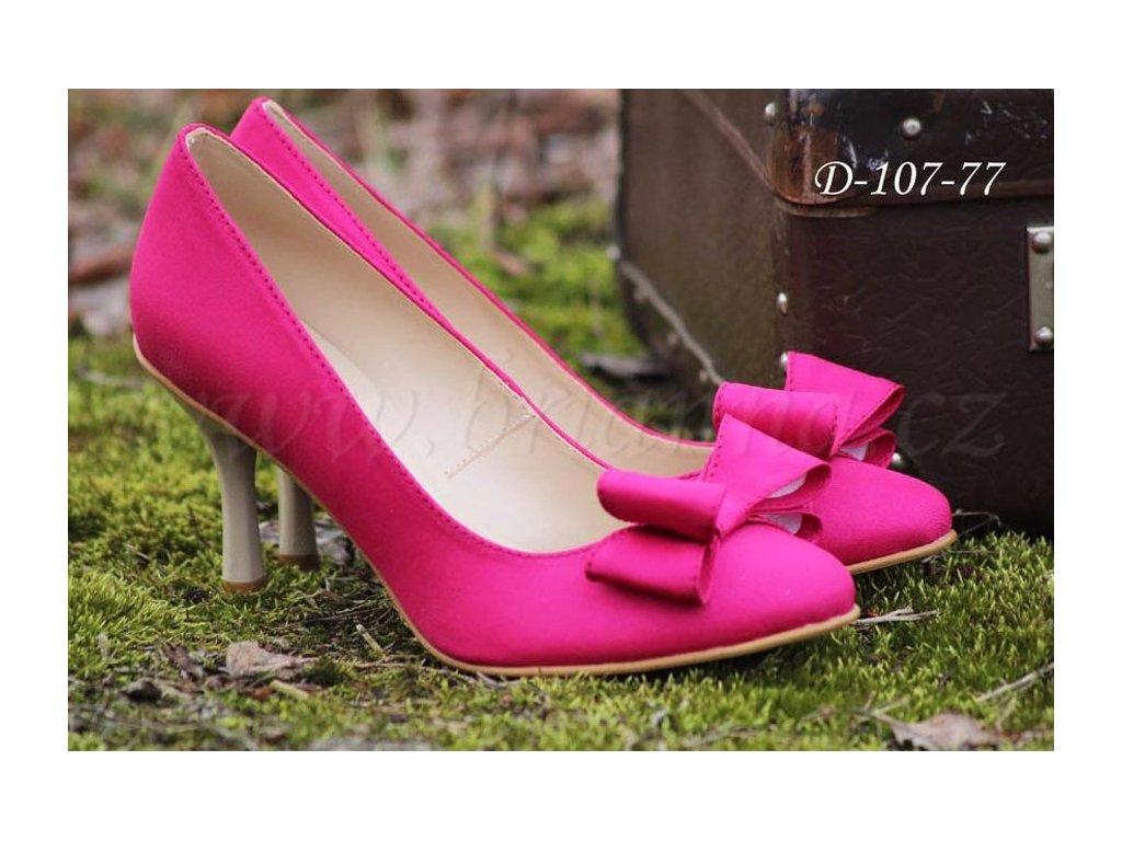 Saténové svatební boty s mašlí - tmavě růžové cd31f62b39
