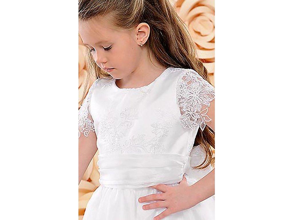 e2603f43f3c7 Dětské saténové šaty pro družičky s krajkovými rukávy DF-03A