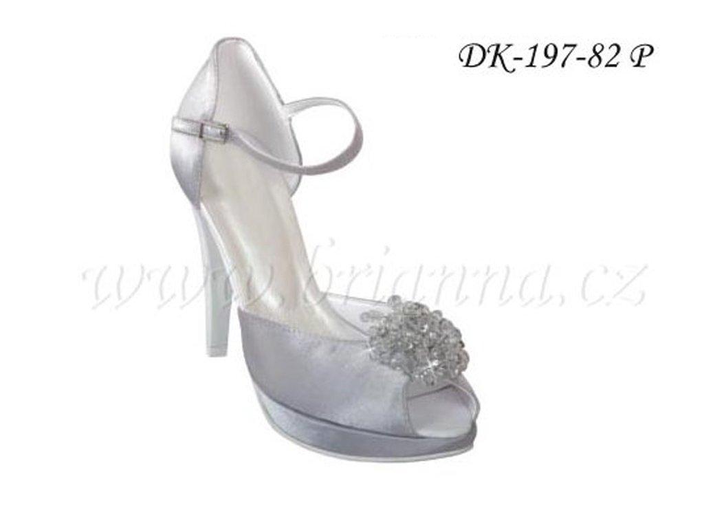 Saténové svatební boty s broží - stříbrné d4cf45c633