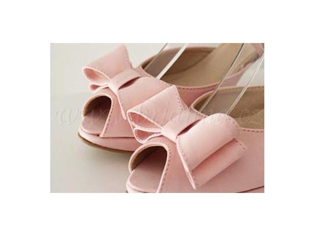 4ee30bfbf20 Saténové svatební boty s mašlí - světle růžové