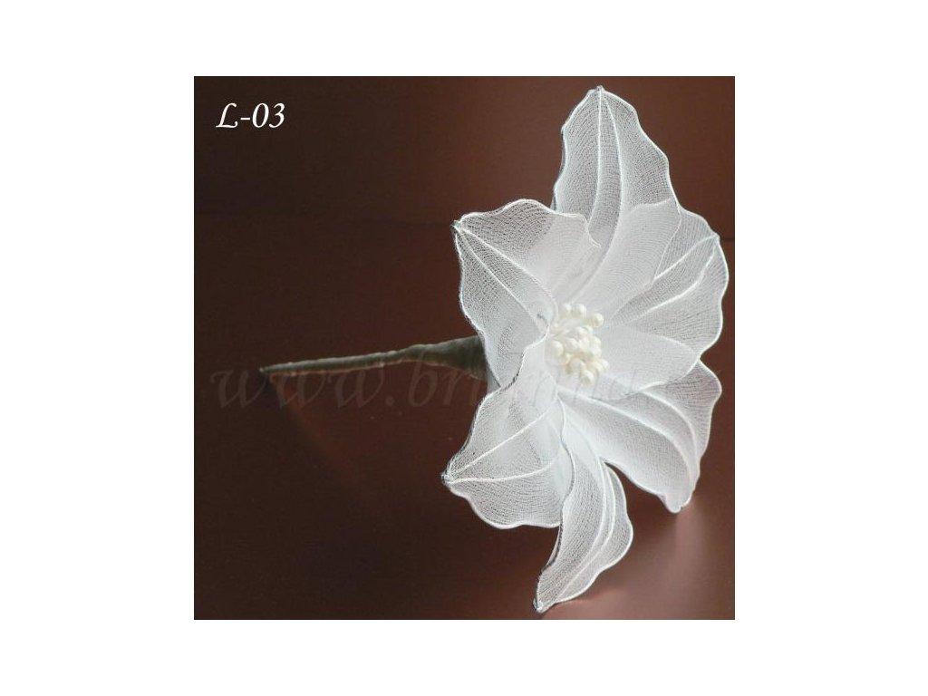 0a749d0b642 Svatební ozdoba do vlasů - květina z nylonu