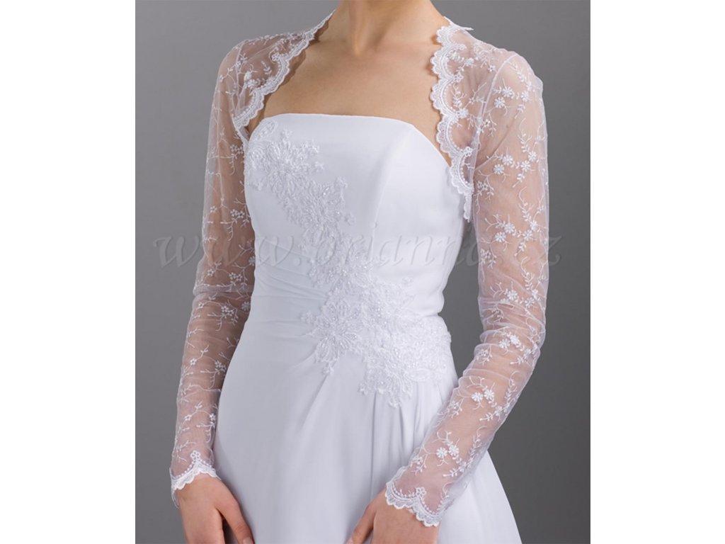 0dbe0ee91705 Vyšívané tylové svatební bolerko s dlouhým rukávem - bílé  B-31