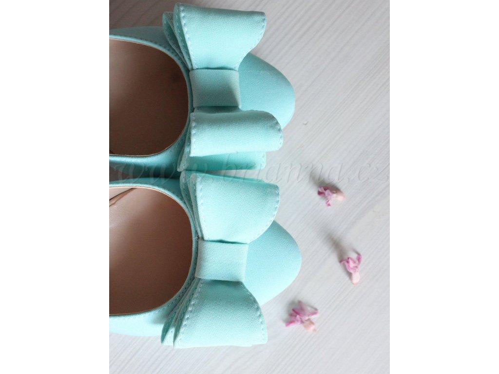 Saténové svatební boty s mašlí - mentolové df5a8a7f23