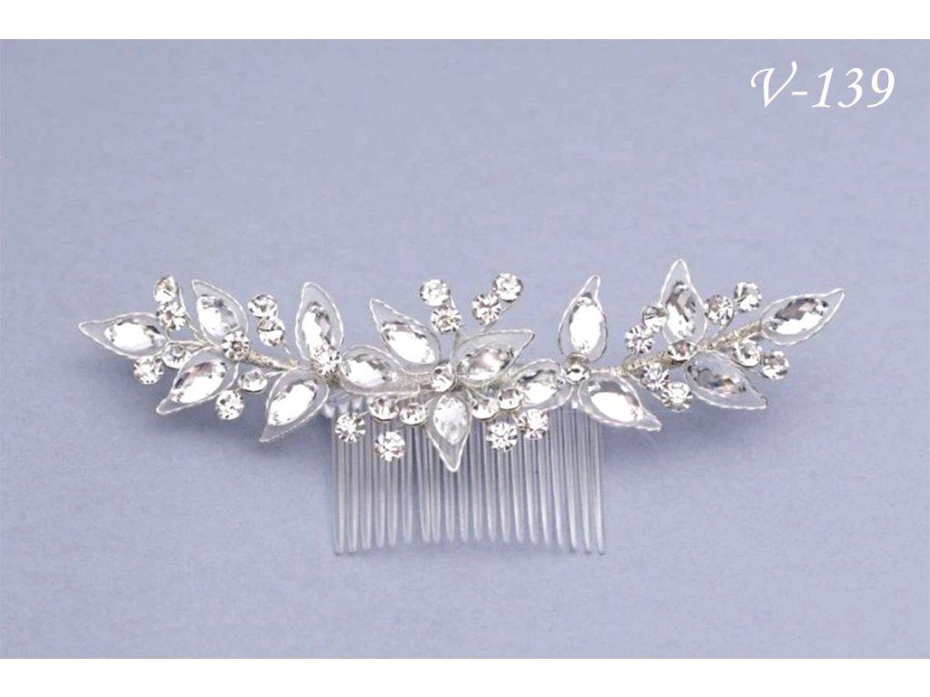 Svatební štrasová ozdoba do vlasů na hřebínku V-228 db24415614