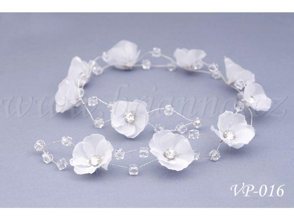 07a37b1ce98 Svatební ozdoba do vlasů - květinový pás s krystaly VP-016 ...