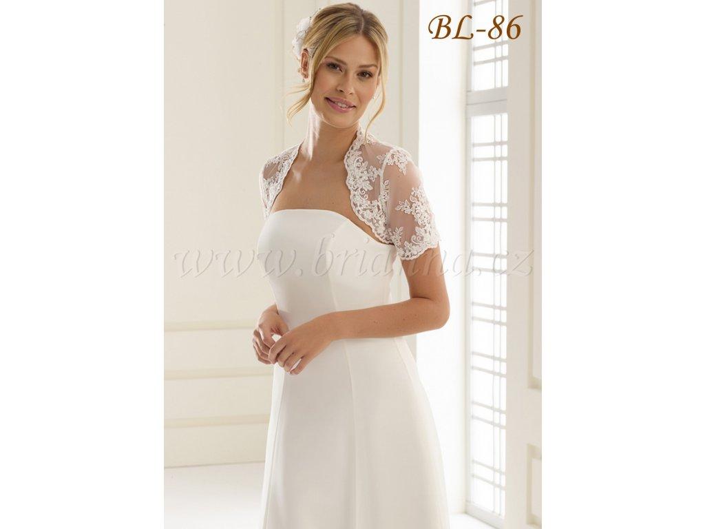 e2c351b8ba7c Krajkové svatební bolerko krátkým rukávem - bílé  BL-86