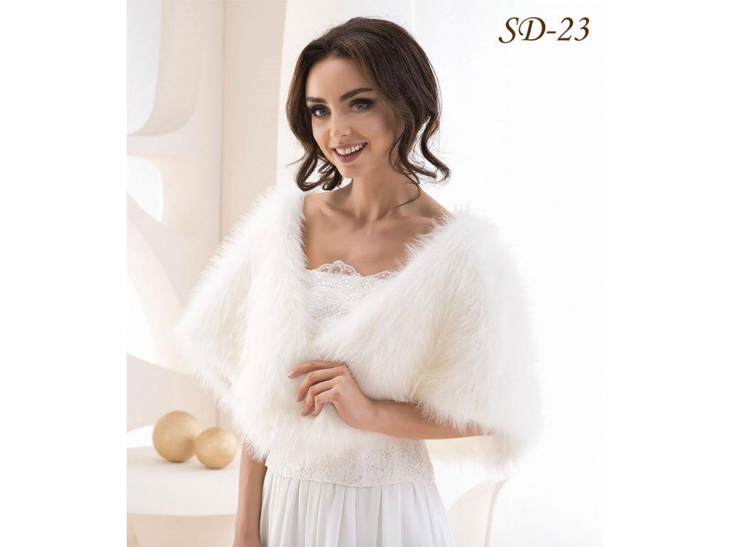Kožešinový svatební šál - ivory  BL-03 a4632adf26