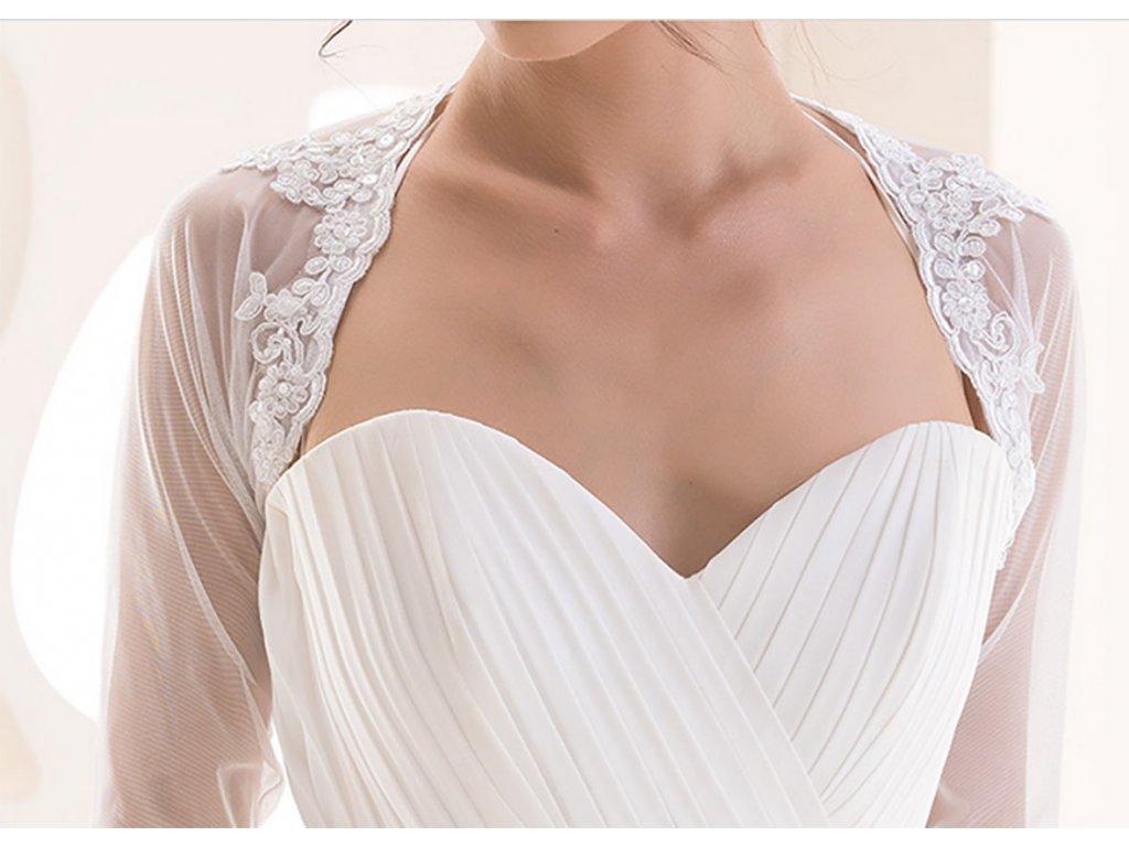 953d25da3c4b Tylové svatební bolerko s dlouhým rukávem s krajkou - bílé  BD-117