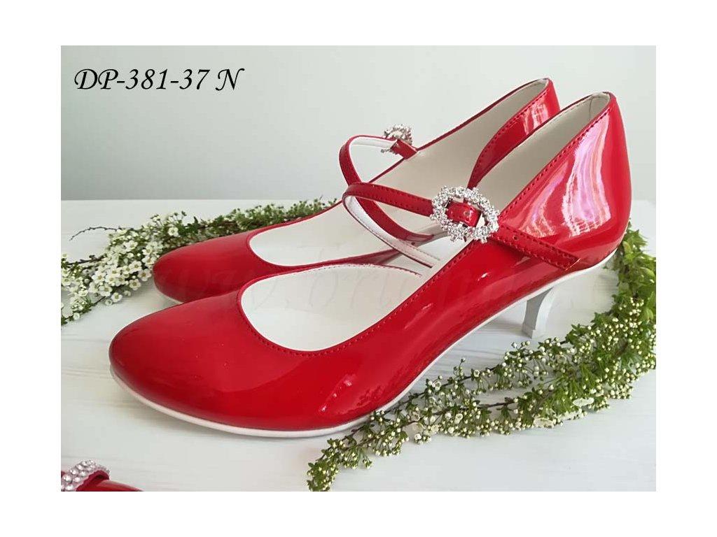 Lakované svatební boty s ozdobnou přezkou - červené d0f9af33b2