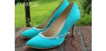 Saténové svatební boty s krystaly - modré