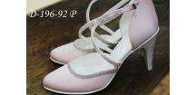 Saténové svatební boty s křížovým zapínáním a krystaly - pudrové