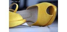 Saténové svatební boty na platformě - žluté