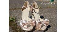 Saténové svatební boty s mašlí - tělové