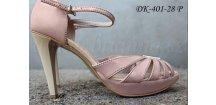 Svatební kožené sandálky - barva pudrově růžová
