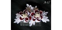 Svatební kanzashi růže na hřebínku A-12