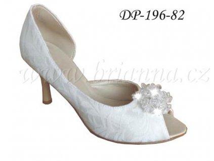 Krajkové svatební boty s ozdobnou sponou - ivory