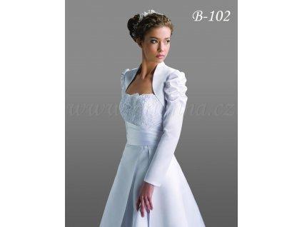 Svatební bolerko s dlouhými nabíranými rukávy - bílé: B-102