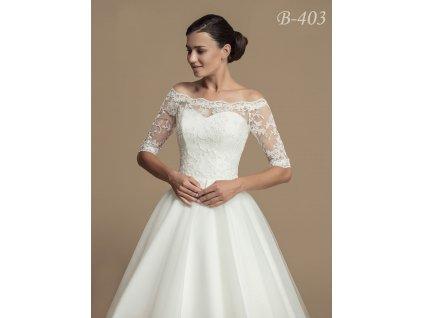 Svatební krajkový kabátek s holými rameny - bílý: B-403