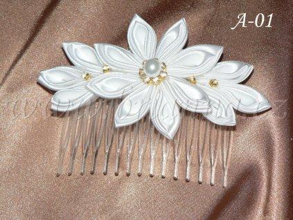 Svatební květina kanzashi na hřebínku A-01