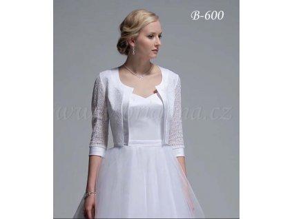 Svatební krajkové bolerko se saténovým lemem - bílé: B-600