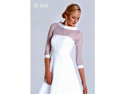 Tylový svatební kabátek s širokým saténovým lemem - bílý: B-604