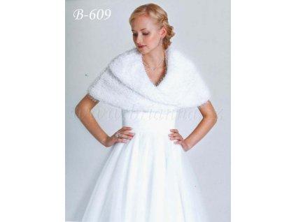 Velurová svatební pelerínka - ivory: B-609