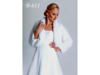 Velurové svatební bolerko - bílé: B-611