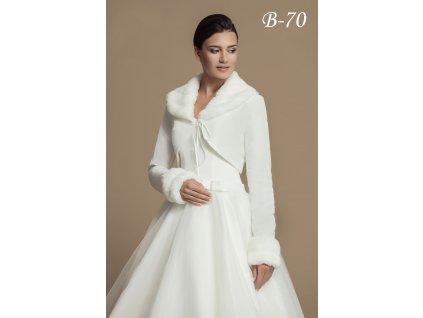 Taftový svatební kabátek s kožešinovým límcem - ivory: B-70