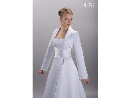 Svatební bolerko s dlouhými zvonovými rukávy - bílé: B-76