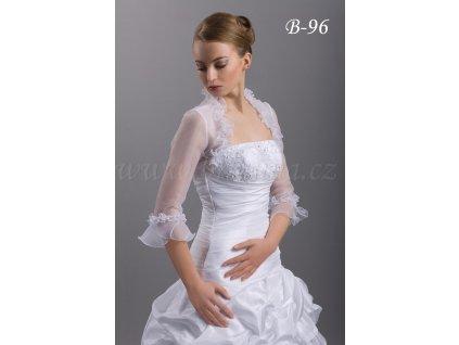 Romantické organzové svatební bolerko - ivory: B-96