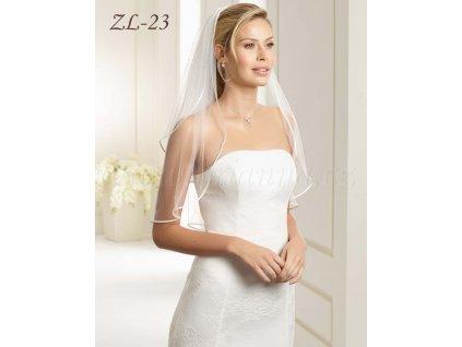 Svatební závoj se saténovým lemem, zdobený perličkami : ZL-23