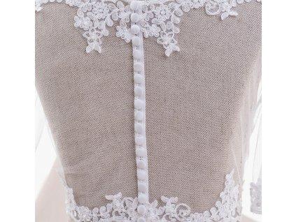 Svatební krajkový kabátek lemovaný úzkou krajkou - ivory: BD-108 T
