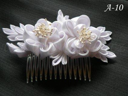 Svatební kanzashi růže na hřebínku A-10